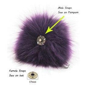 Image 2 - Помпоны из лисьего меха Furling, 12 шт., помпоны из лисьего меха 12 см/4,7 дюйма с кнопками нажатия, для шапок, вязаных шапок, аксессуаров, оптовая продажа