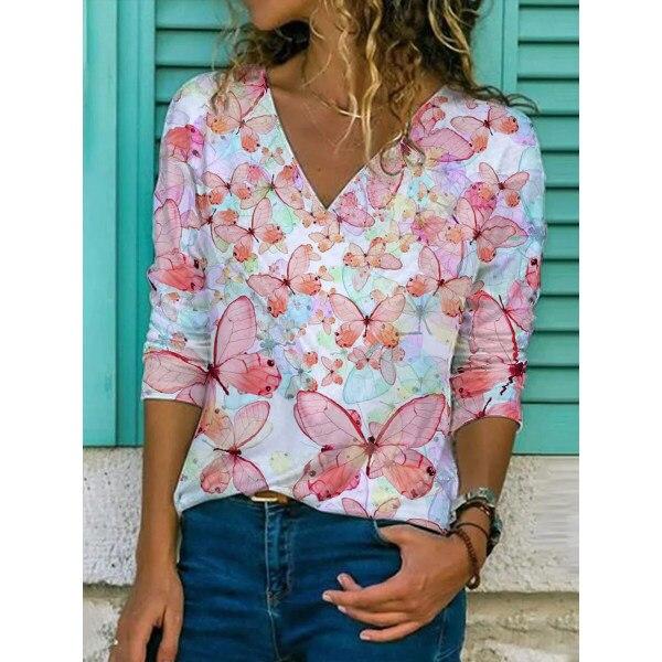 2021 New Fashion,women Fashion Clothing ,V-Neck ,short Sleeve, Slim Printed Women's T-shirt,