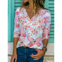 2021 New Fashion,women Fashion Clothing ,V-Neck ,short Sleeve, Slim Printed Women's T-shirt,