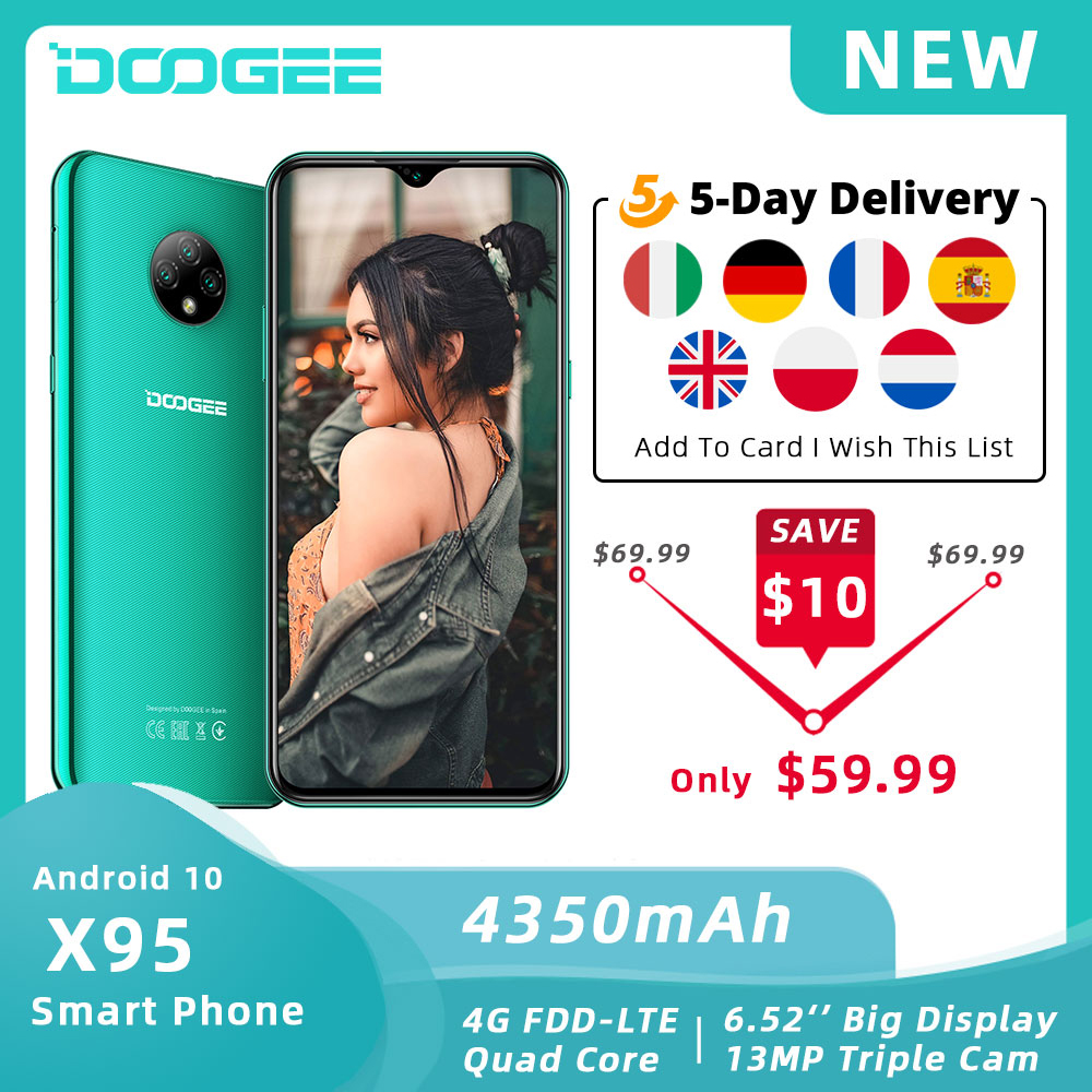 """DOOGEE X95 Mobile Phone Android 10 OS 4G-LTE Cellphones 6.52"""" MTK6737 16GB ROM Dual SIM 13MP Triple Camera 4350mAh SmartPhones(China)"""