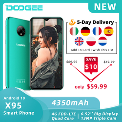 """DOOGEE X95 Mobile Phone Android 10 OS 4G-LTE Cellphones 6.52"""" MTK6737 16GB ROM Dual SIM 13MP Triple Camera 4350mAh SmartPhones"""