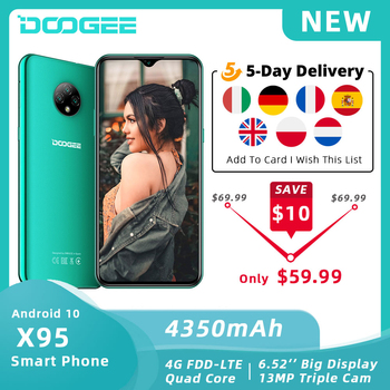 "DOOGEE X95 Mobile Phone Android 10 OS 4G-LTE Cellphones 6.52"" MTK6737 16GB ROM Dual SIM 13MP Triple Camera 4350mAh SmartPhones"