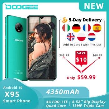 "DOOGEE X95 teléfono móvil Android 10 OS 4G-LTE teléfonos móviles 6,52 ""MTK6737 16GB ROM Dual SIM 13MP Triple 4350mAh Cámara teléfonos inteligentes"