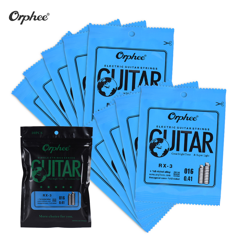 Orphee RX-1 Single String Replacement for Electric Guitar 1st E-String (.009) 10-Pack Nickel Alloy Super Light Tension