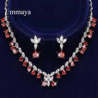 Emmaya-pendientes y collar delicados en forma de gota de agua para mujer, joyería Noble de tres colores a elegir, conjunto de fiesta nupcial