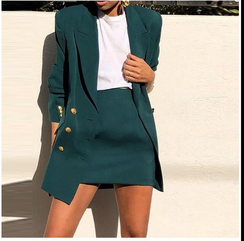 Ladies Spring 2020 Elegant Office Work Wear Skirt Suits OL 2 Piece Sets Solid Blazer Jacket With Skirt Suit For Women Set Femme