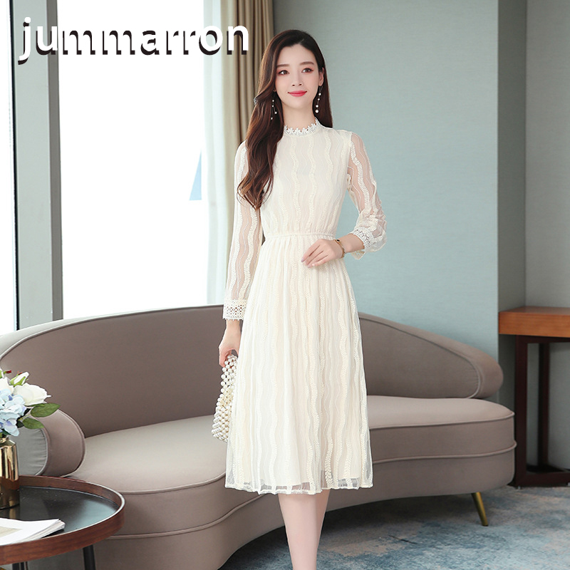 jummarron 2020 new Lace <font><b>dress</b></font> woman <font><b>dresses</b></font> early autumn ultra-fairy o-neck Hollow out fairy show thin office lady women's <font><b>dress</b></font> image