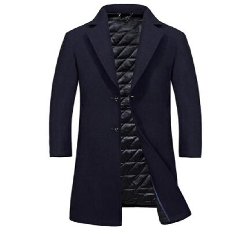 Одежда высшего качества из смески шерсти мужская куртка, пальто брендовая 2017 парка осенне зимние пальто мужской теплая длинная верхняя оде... - 4