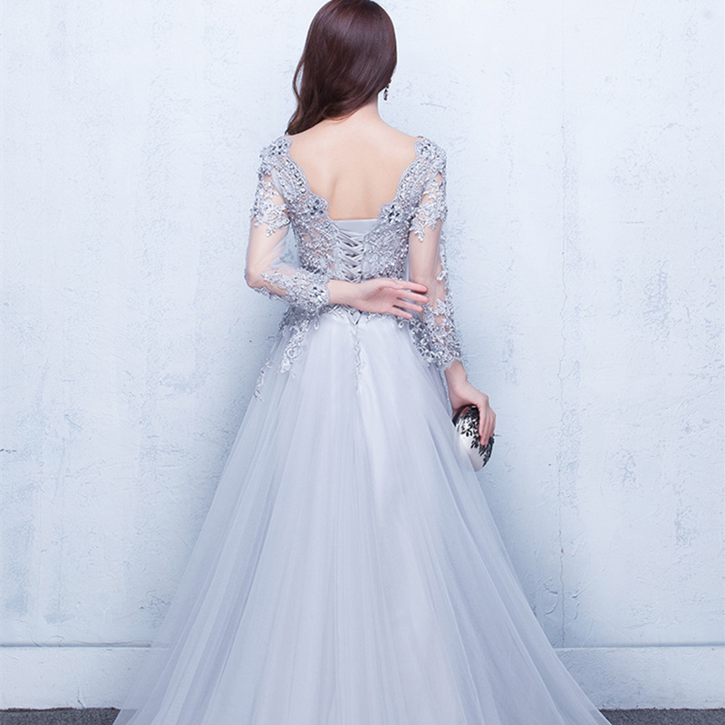 Beauty Emily V Neck Elegant Evening Dresses Long 2020 for Women Beading Lace Up Back Pearls Prom Gowns Party Dress Plus Size 2