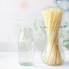 Hot 400 Pack jednorazowe słomki elastyczne plastikowe słomki w paski wielokolorowy Rainbow słomki Bendy akcesoria barowe słomy tanie tanio CN (pochodzenie) Z tworzywa sztucznego