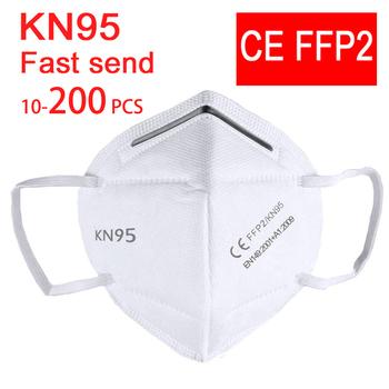 10-200 ffp2 maska KN95 maseczki do twarzy maska maska do ust FFP2mask KN95mask maska przeciwpyłowa mascaras mascarilla wentylacja tanie i dobre opinie NoEnName_Null Chin kontynentalnych EN 149-2001 + A1-2009