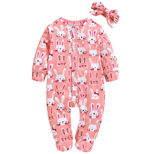 Baby Girl Rabbit Printed Footed Bodysuit