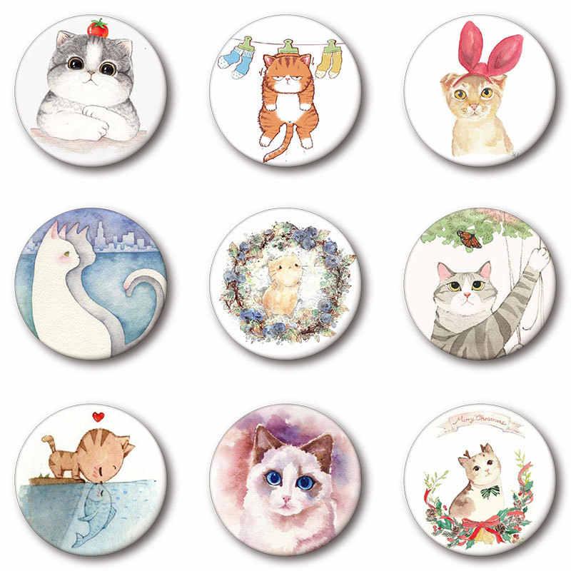 Cute Cartoon Kawaii Anime kot metalowe kołki ikona dekorowanie odznaka na plecak przycisk odznaki broszki Kawaii przypinki na klapę Harajuku