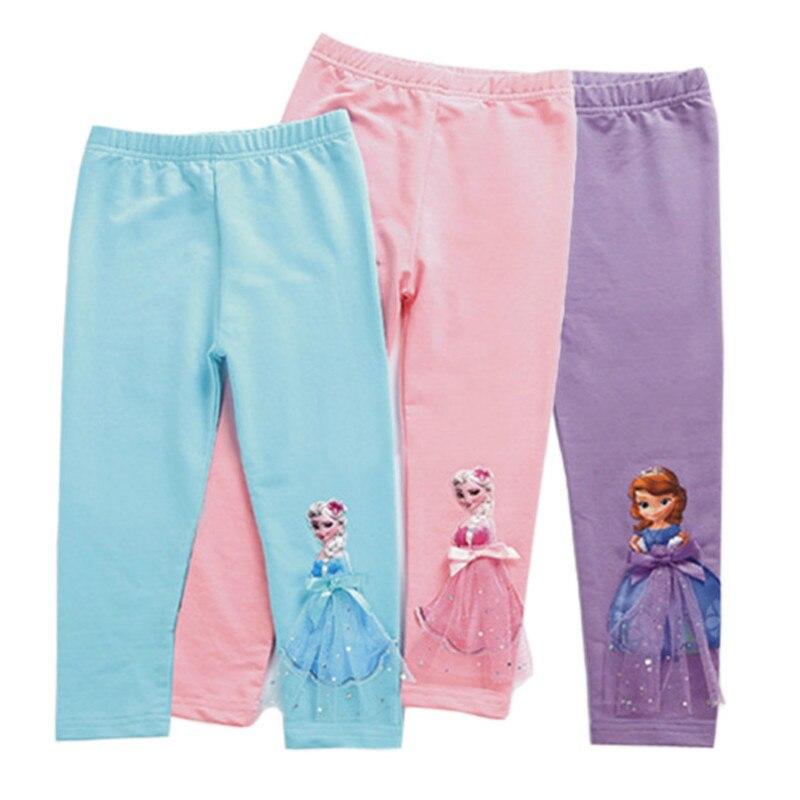 2020 çocuk kız tayt yaz buzağı uzunluğu pantolon karikatür 3D Anna Elsa kız pantolon çocuk pantolonları çocuk pantolon 2-10Years
