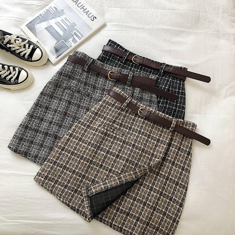Vintage Women Plaid High Waist Mini Skirt 1