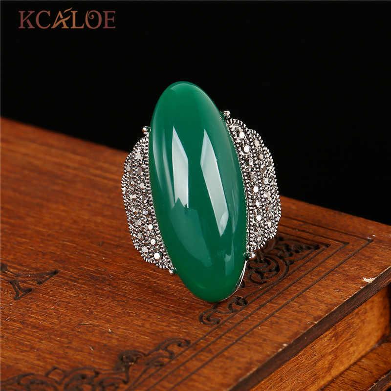 KCALOE รูปไข่สีเขียวขนาดใหญ่แหวน Vintage Retro หินธรรมชาติ Charm งานแต่งงานแหวน Anillos Mujer เงินสีอุปกรณ์เสริม