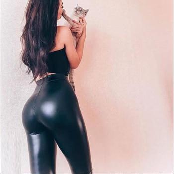Winter Women Black PU Leather Leggings  Skinny Push Up High Waist Leggings Elastic Trousers Stretch Plus Size Leggings 5xl 5