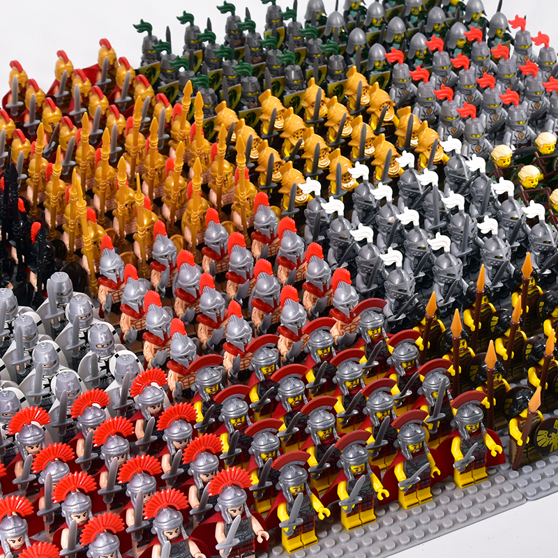 21pcs/lot Crusader Rome Commander Spartan Soldiers Medieval Knights Army Group Toys Figure Compatible Legoeinglys Building Block