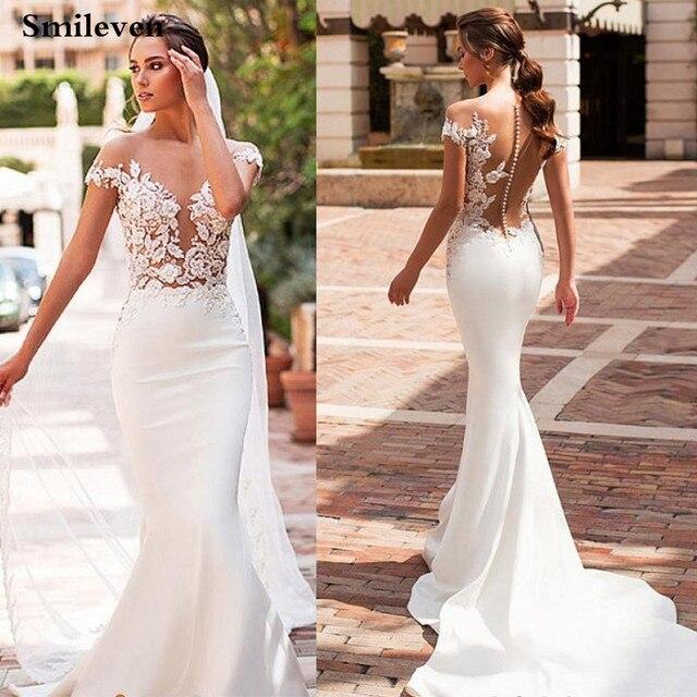 Smileven Mermaid Wedding Dress 2020 Satin Cap Sleeve Vestido De Noiva Lace Bohemian Bride Dresses With Romantic Buttons 1