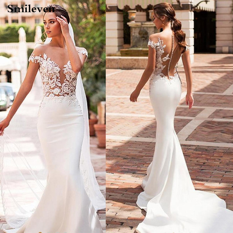 2019 Bohemian Mermaid Wedding Dress Satin Cap Sleeve Vestido De Noiva Lace Bride Dresses With Romantic Buttons
