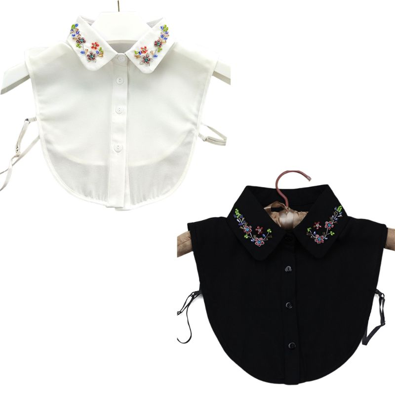 Korean Womens Handmade Beading Jewelry Lapel False Collar Colorful Imitation Crystal Spring Flower Detachable Half Shirt Blouse