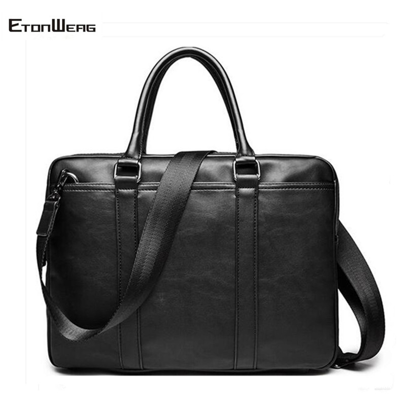 Men's Business Office Briefcase Luxury Brand Leather Handbag Computer Laptop Tote Male Large Casual Black Shoulder Bags 2019