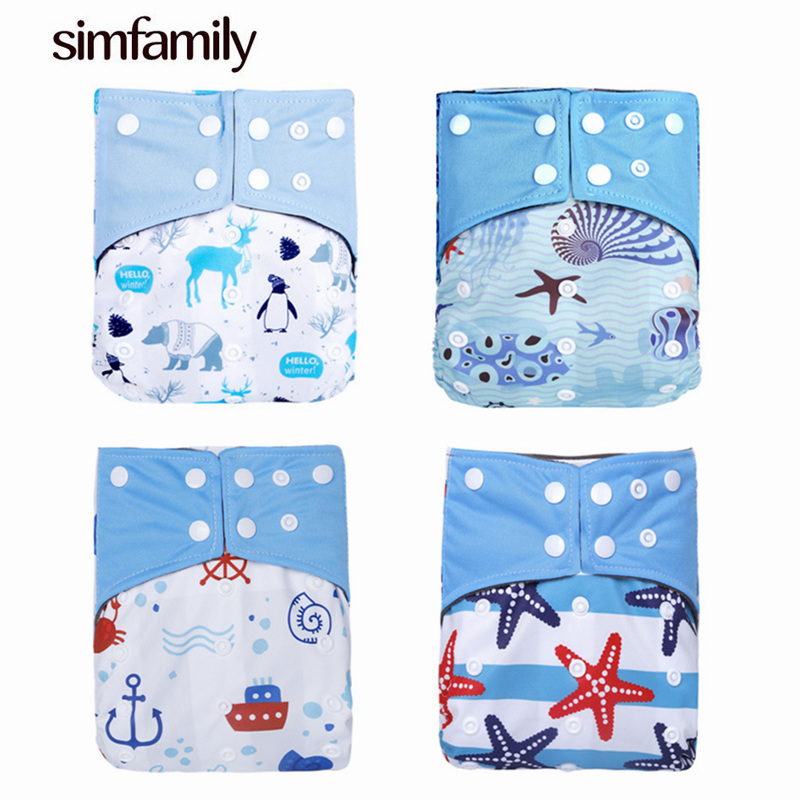 [simfamily] 1PC Reusable Bamboo Charcoal Cloth Pocket One Size Nappy Diaper Cover