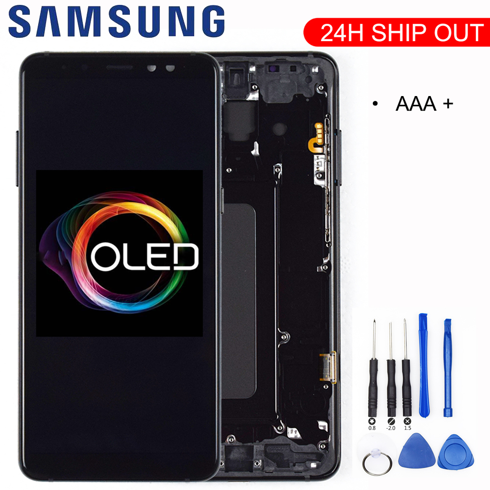 100% ORIGINAL AMOLED <font><b>Display</b></font> <font><b>LCD</b></font> For <font><b>SAMSUNG</b></font> <font><b>Galaxy</b></font> <font><b>A8</b></font> Plus 2018 A730 <font><b>LCD</b></font> <font><b>Display</b></font> <font><b>Touch</b></font> <font><b>Screen</b></font> Digitizer Replacement Can adjust image