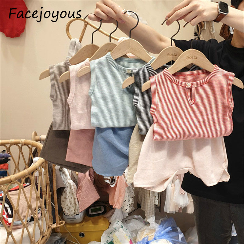2020 Summer Newborn Girls Boys Clothes Set Cotton Casual Sleeveless Tops Vest + Shorts Pp Pant Baby Clothing 2pcs Infant Outfit