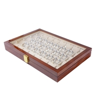 40 Pairs Cufflink and Tie Clip Storage Box for Men Fashion Painted Wooden Ring Earring Collection Jewelry Display Box