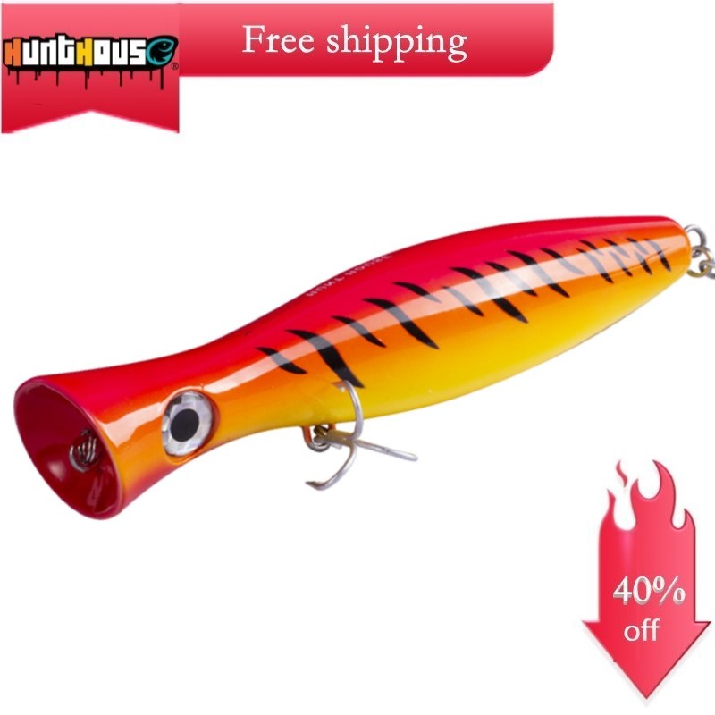 Hunthouse gt popper fishing lure big popper lure loud sound 200/160/120mm for fishing bass bluefish tuna popper with mustad hook