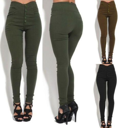 Plus Size Women High Waist Skinny Stretchy Button Leggings Lady Girls Slim Fit  Stylish Female Black/Army Green/Brown Long Pants