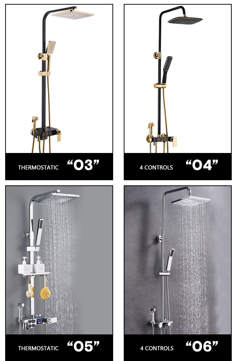 LED Digital Shower System Wall Mounted Thermostatic Shower Set Bathroom Hot Cold Mixer Bath Faucet Square Head Rainfall Faucets