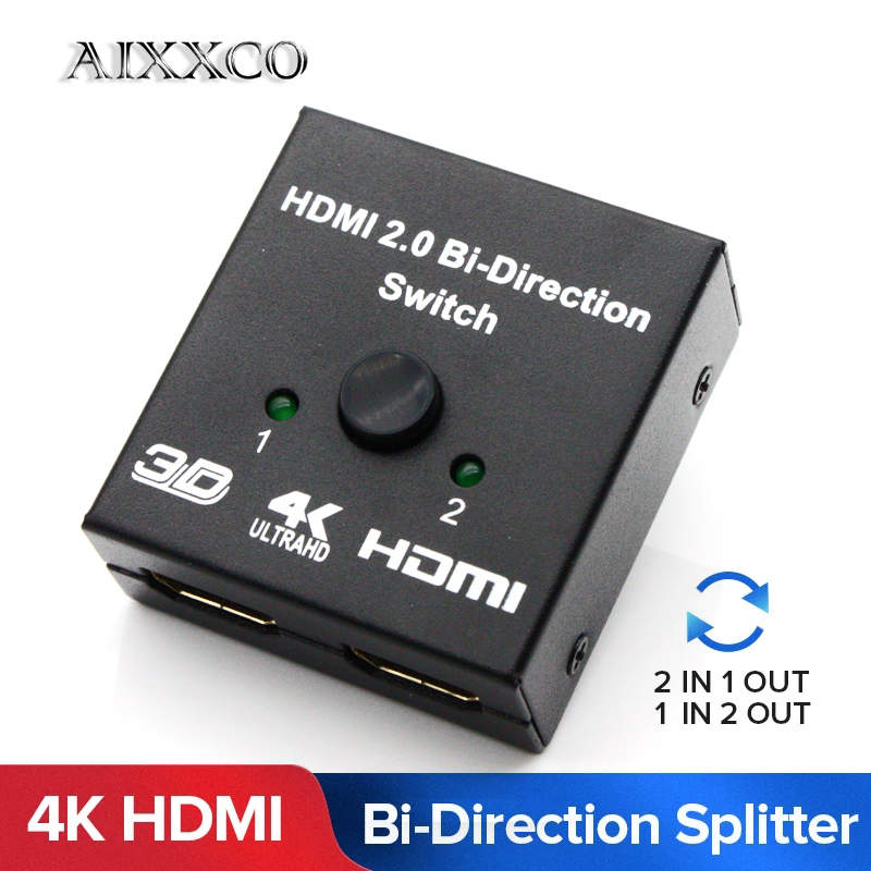 Aixxco Hdmi Switch Bi Direction 4k Hdmi Switcher 2 In 1 Out Hdmi Splitter 1x2 2x1 Adapter Out Converter For Ps4 3 Tv Box Hot Sale F4e5b Shippingitems