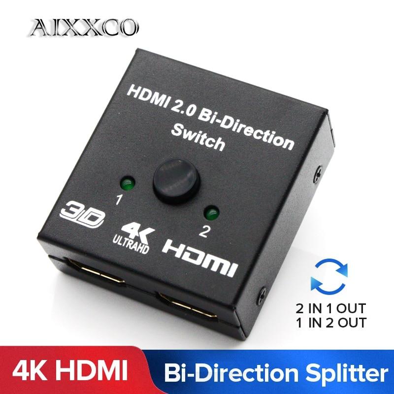 AIXXCO HDMI Switch bi-direction 4K HDMI commutateur 2 en 1 sortie HDMI répartiteur 1x 2/2x1 adaptateur out convertisseur pour PS4/3 TV Box