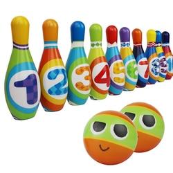 Crianças conjunto de boliche com 6 pinos e 2 bolas indoor divertido jogo brinquedos bola de boliche equipamentos de fitness pinos bolas conjunto