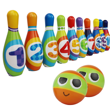 Kids Bowling Set with 6 Pins and 2 Balls Indoor Fun Game Toy