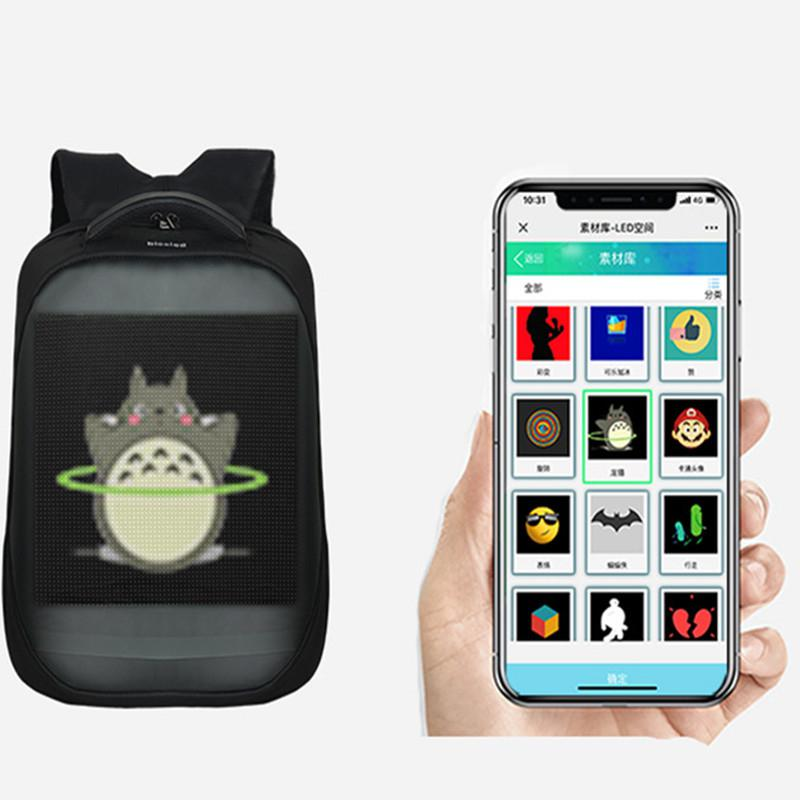 HiMISS Newest Wifi Smart LED Backpack With Led Display Screen Backpack Waterproof For Walking Outdoor Advertising Backpack LED