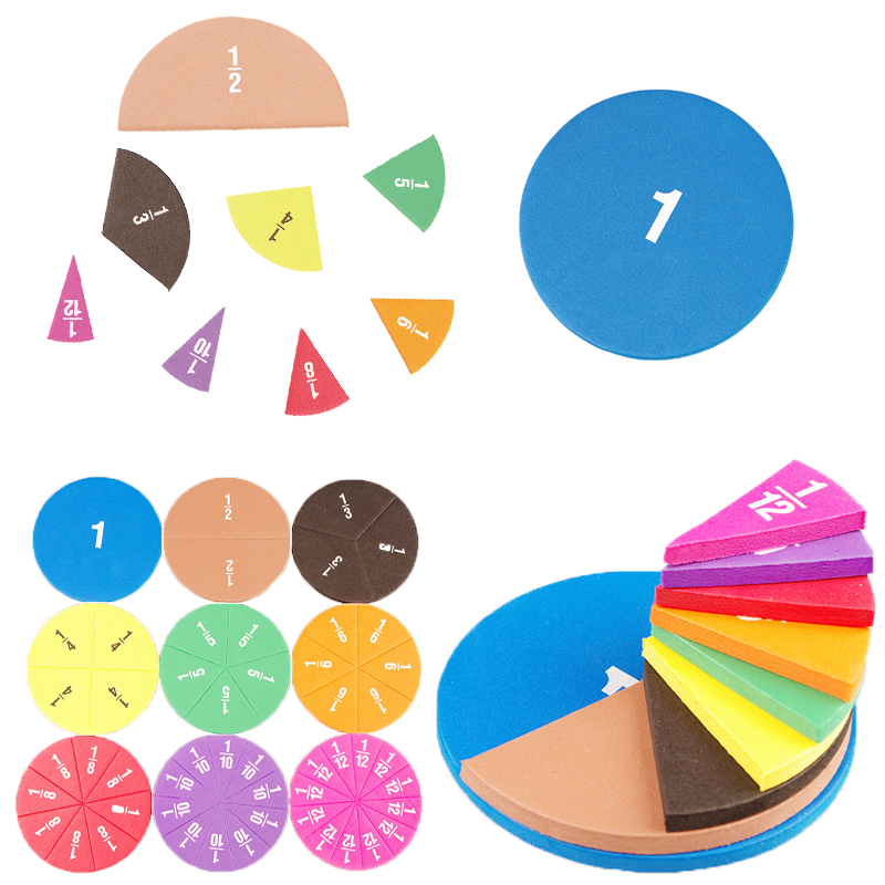 51Pcs Circular Fractions Counting Preschool Montessori Education Math Toys Kids Early Education Math Operation Educational Toys