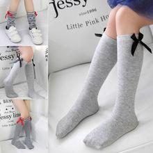 Мягкие хлопковые носки чулки до колен с бантом для маленьких девочек гетры