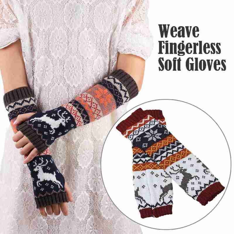 Women Winter Wrist Arm Warmers Ladies Crochet Knitted Long Fingerless Thumb Hole Gloves Mittens Hand Warmer