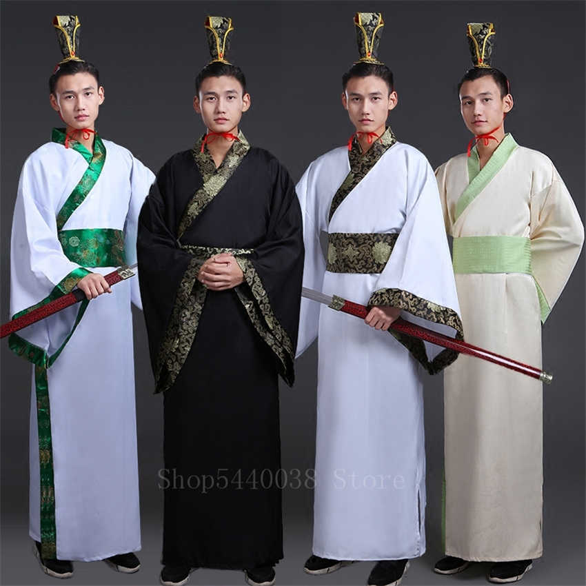 Chinese Traditional Man Hanfu Dress New Year Oriental Ancient Performance Stage Folk Dance Costumes Han Dynasty Cosplay Robes