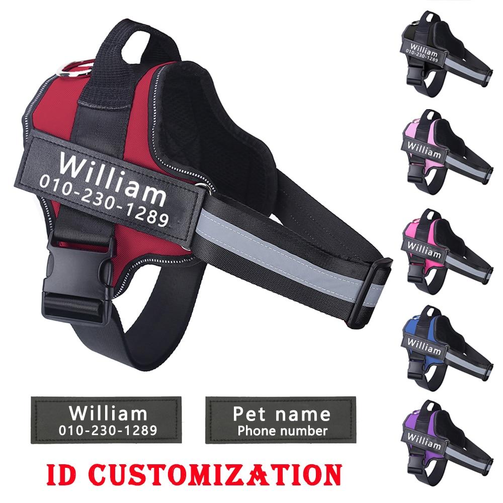Персонализированные ремни для собак без тяги Светоотражающая Регулируемая шлейка для питомцев для маленьких больших собак ремни жилет с ID именем на заказ