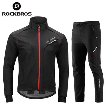 Rockbros conjunto para ciclismo unissex, roupas de inverno, térmicas, de lã, à prova de vento, reflexivas, para andar de bicicleta 1