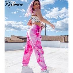 Rockmore Tie Dye Jogger Pants Women High Waist Wide Leg Pants Baggy Street Wear Trousers Loose Women'S Sweatpants And Joggers