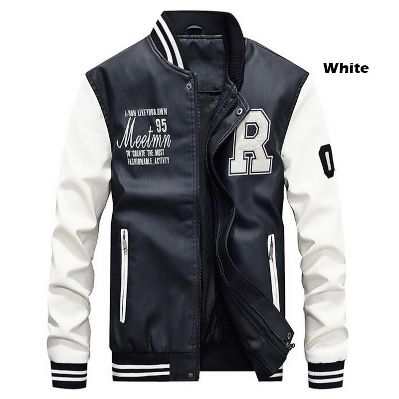 Men Baseball Jacket Embroidered Leather Pu Coats Slim Fit College Fleece Luxury Pilot Jackets Men's Stand Collar Top Jacket Coat 35