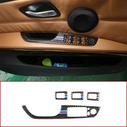 RHD LHD Carbon Fiber For BMW E90 E92 E93 3 Series 2005-2013 Car Window Lift Button Frame Trim Right and Left Hand Drive