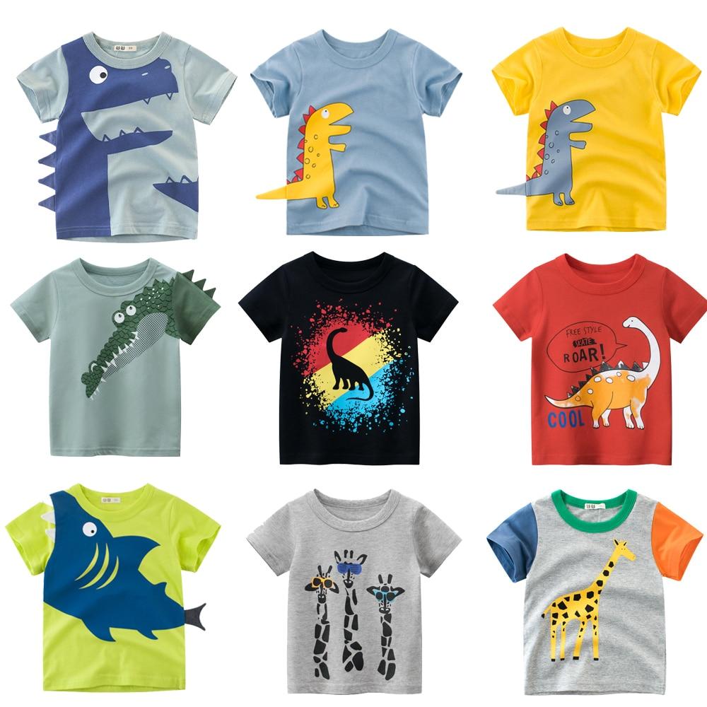 Kids Summer T-Shirts Boys Toddler Baby Shark Boy Children Cartoon Animals Shark Dinosaur Print Cotton Tee Tops Clothes