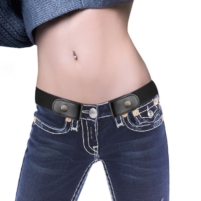Fashion Women Slim Stretch Invisible Jeans Belt Without Buckle Adjustable Elastic Buckle-Free For Dress Simple Versatile Belts