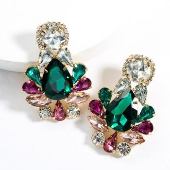 KMVEXO Colorful Crystal Drop Earrings Women Round Geometric Pendant Dangle Earrings Indian Bridal Statement Jewelry Party Bijoux 7